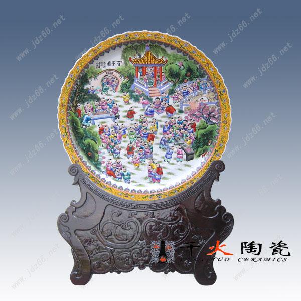 手绘粉彩百子图大瓷盘