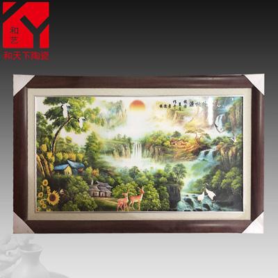景德镇陶瓷手绘青花瓷板画四条屏挂画中式客厅装饰画实木框壁画