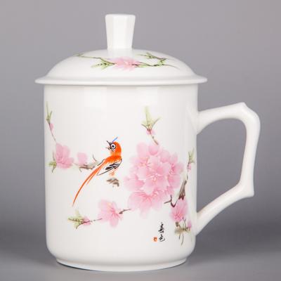 景德镇茶杯 定做办公杯 带盖办公室会议杯 家用水杯定制