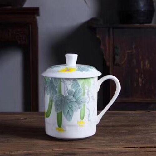 景德镇茶杯青花瓷私人定制杯子  带盖茶杯  订制礼品商务杯