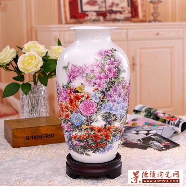 新中式陶瓷花瓶景德镇工艺品摆件装饰客厅插花瓶杜鹃花鸟瓷瓶大号