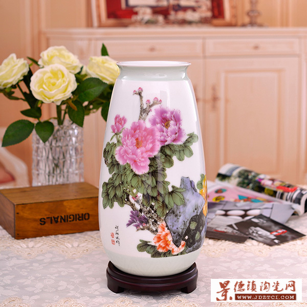景德镇瓷器花瓶摆件春风富贵牡丹花开客厅家居装饰摆设工艺品