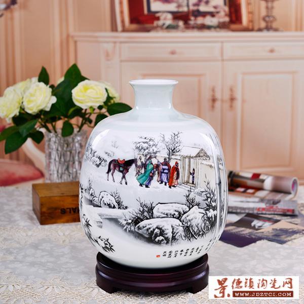 景德镇陶瓷雪景花瓶客厅摆件家居装饰工艺瓷瓶瓷器三顾茅庐
