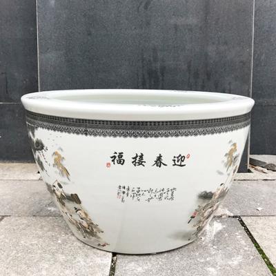 景德镇青花陶瓷风水鱼缸山水特大号庭院客厅家用招财酒店镇宅大缸