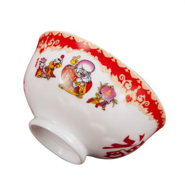 福禄寿喜百寿碗套装定制生日批发红色陶瓷祝寿碗答谢加字礼盒装
