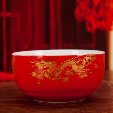 厂家陶瓷红色福寿百寿龙凤红色寿碗礼盒套装寿宴回礼