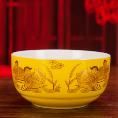 景德镇陶瓷彩色龙凤寿碗套装骨瓷百岁碗定制刻字寿辰礼品答谢礼盒