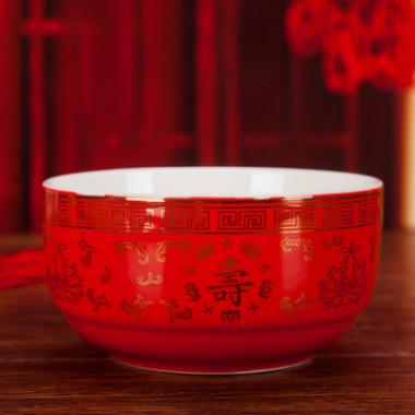 陶瓷寿碗定制生日红色答谢礼盒套装订做烧刻字刻字祝寿宴回礼