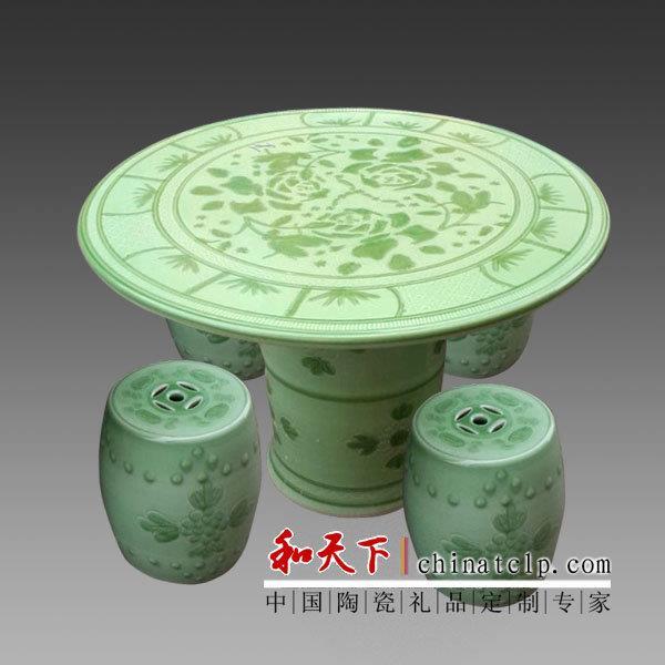 新品促销景德镇青花荷花鱼陶瓷桌凳手绘花园客厅瓷桌摆件配圆凳