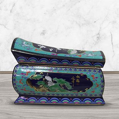 锦绣苑实木骨灰盒黑檀木男用女款陶瓷保护罩高档黑紫檀骨灰坛