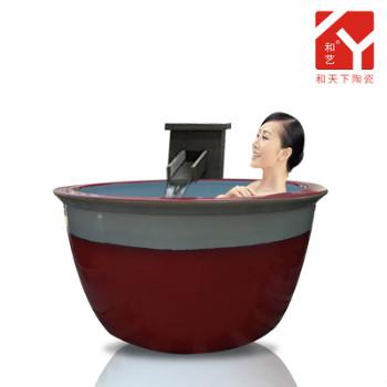一米二洗浴大缸泡澡景德镇瀚澜陶瓷温泉洗浴中心浴场新款大缸厂家