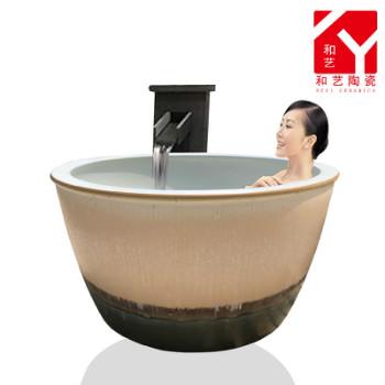 庭院户外温泉浴场洗浴大缸挂汤缸日式圆形浴缸陶瓷泡澡缸家用厂家
