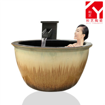 日式陶瓷桶温泉挂汤缸双人浴缸一米一二三泡澡缸浴场户外洗浴大缸