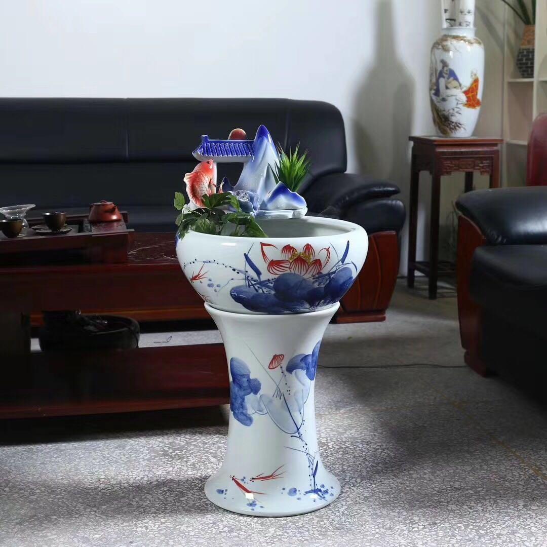 日用陶瓷装饰小鱼缸青花连年有余家居装饰鱼缸