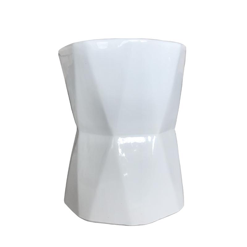 日用家用欧式纯白色陶瓷不规则菱形陶瓷凳家居装饰