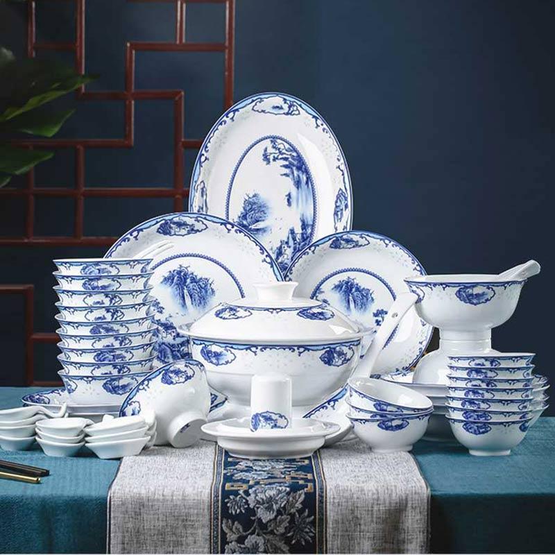 景德镇青花瓷玲珑餐具礼品,56头高白瓷青花山水瑞园餐具套装