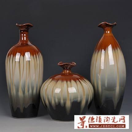 陶瓷插花瓶摆件三件套现代简约欧式