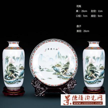中式家居客厅电视柜插花装饰品工艺摆件