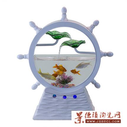 陶瓷流水摆件办公室桌面喷泉客厅风水轮招财流水器鱼缸小礼品禅意