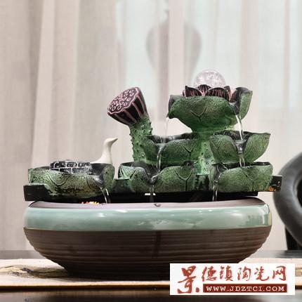 家居小型客厅鱼缸流水器摆件装饰陶瓷工艺喷泉桌面新中式创意礼品
