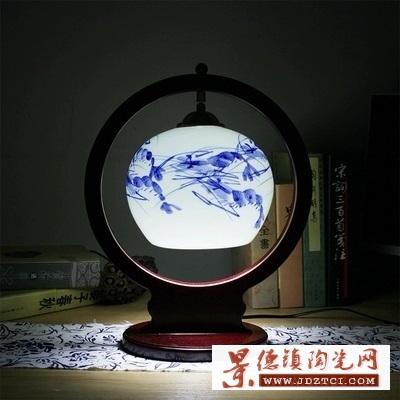 景德镇特色客厅书房实木灯具中国风暖光灯饰结婚陶瓷台灯卧室床头灯