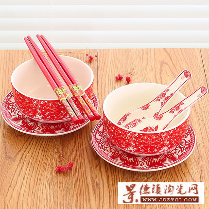 景德镇剪纸鸳鸯多款龙凤骨瓷红色喜碗