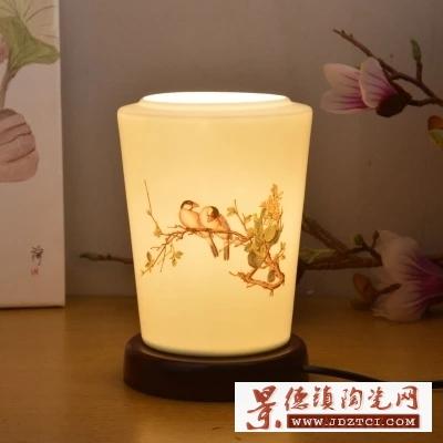 景德镇陶瓷灯具青花粉彩薄胎腰鼓台灯卧室床头现代中式仿古典台灯