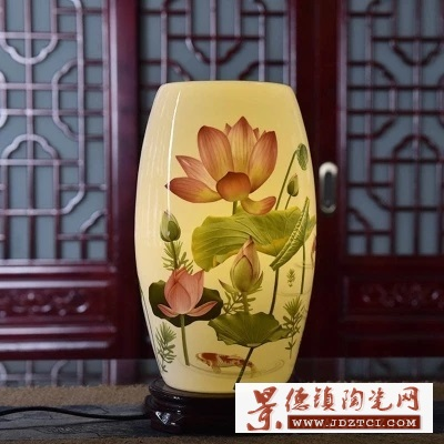 唯美中式实木客厅书房实木灯具中国风暖光灯饰结婚陶瓷台灯卧室床头灯定制
