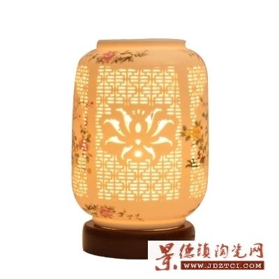 中国风暖光灯饰结婚陶瓷台灯卧室床头灯现代中式仿古典台灯灯罩批发