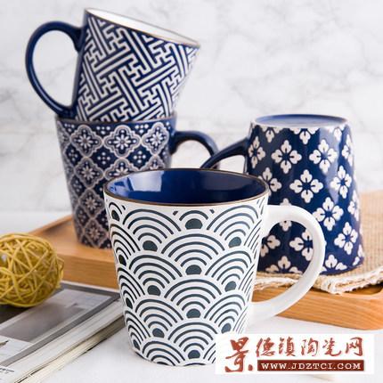 田园日式和风釉下彩陶瓷茶杯直身杯