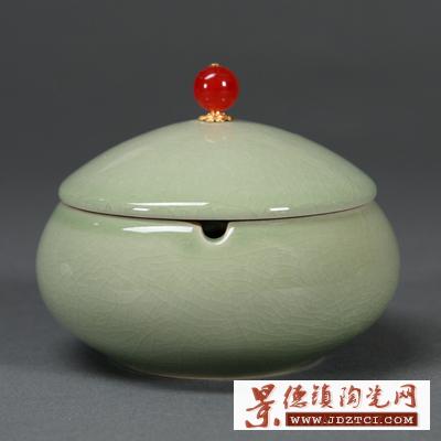 家用茶道配件陶瓷烟灰缸卧室客厅创意简约时尚小号带盖烟灰缸