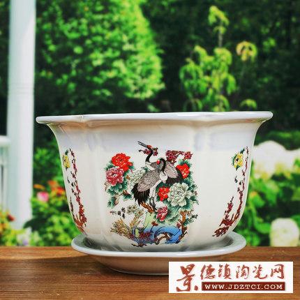 中国风手绘粉彩陶瓷花盆仿古绿植园艺桌面盆栽多肉小花盆陶瓷花盆