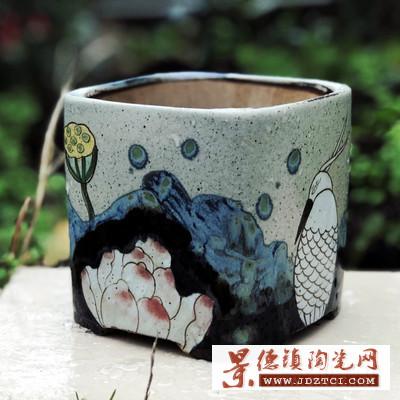 景德镇手工彩绘中国风大方盆多肉植物粗陶花盆肉肉陶瓷花盆定制