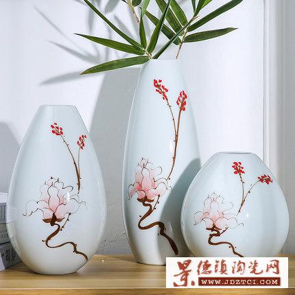 景德镇陶陶瓷瓷花瓶田园风家居客厅摆件插干花器三件套样板房摆设