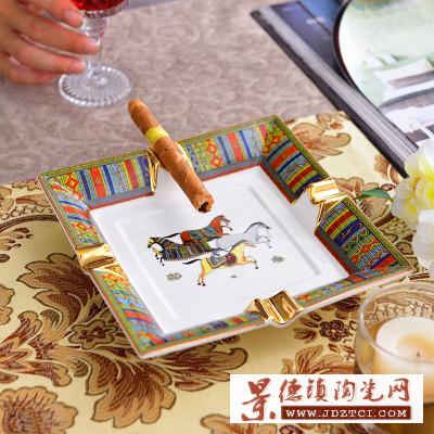 欧式鎏金骨瓷雪茄烟灰缸时尚欧式会所办公室陶瓷大号烟缸礼品