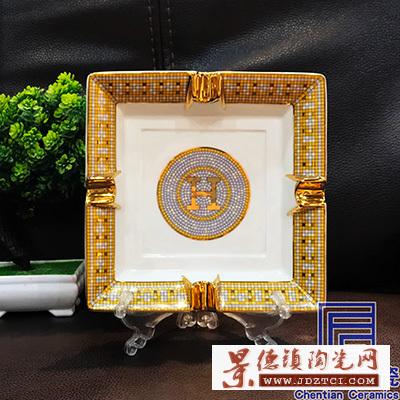 商务礼品雪茄陶瓷烟灰缸摆件欧式装饰有档次可大量生产批发