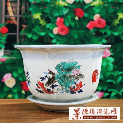粉彩花盆陶瓷家用大中小号托盘绿萝吊兰植物君子兰家用花盆供应