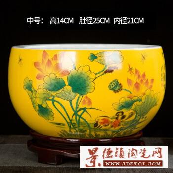 景德镇陶瓷鱼缸金鱼缸睡莲碗莲盆花盆圆形园艺花卉种植盆聚宝盆