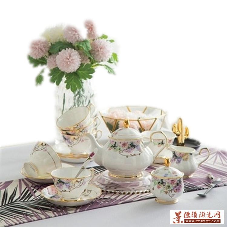 欧式下午茶茶具,简约金边骨瓷咖啡杯,下午茶结婚礼品
