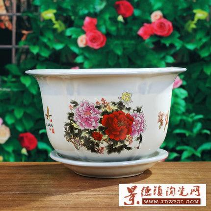自动吸水花盆陶瓷中式家用大号简约室内客厅创意懒人自吸水吊兰盆
