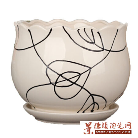 景德镇定制鲜花绿萝花卉盆栽陶瓷花盆简约大中小号客厅室内花盆