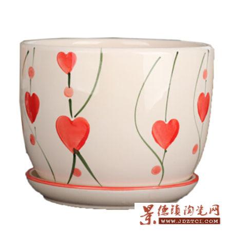 大中小号花盆陶瓷简约吊兰创意绿萝家用阳台多肉花盆带托盘