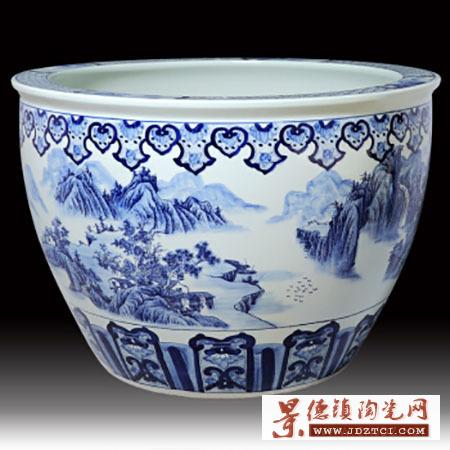 景德镇陶瓷花盆金鱼缸