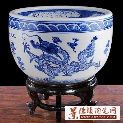 景德镇青花瓷器陶瓷鱼缸客厅家用风水书画乌龟缸养鱼大号鱼缸聚宝盆