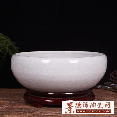 景德镇陶瓷鱼缸手绘桌面摆件风水养金鱼缸乌龟睡莲荷花聚宝盆30cm