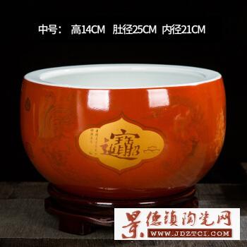 景德镇陶瓷鱼缸手绘金鱼缸荷花缸庭院养鱼缸水族鱼箱聚宝盆