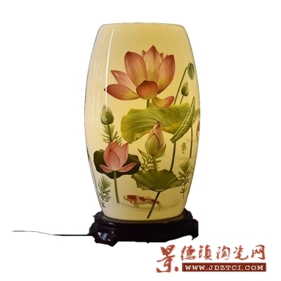 中式灯罩青花粉彩薄胎腰鼓台灯