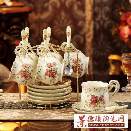 英式下午茶复古田园陶瓷咖啡具套装,高档欧式骨瓷茶壶