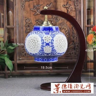 现代中式陶瓷台灯客厅装饰台灯定制仿古实木卧室书房中式灯饰
