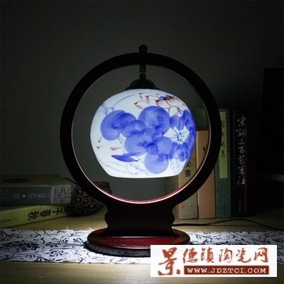 暖光灯饰结婚陶瓷台灯卧室床头灯景德镇陶瓷灯罩
